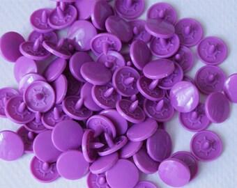 KAM Plastic Snaps 100 sets - Bright Purple (Overstock sale)