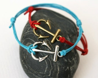 Anchor Charm Bracelet / Anchor Anklet (many colors to choose)