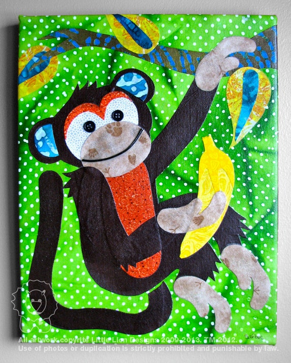 Monkey Around - Jungle fabric collage wall art - Ready to Hang