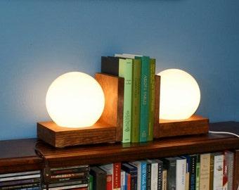 Globe Light Lamp Bookends Lighting Wood Wooden Book Ends Night Light Bookshelf Nightlight Library Shelf Lamps Simple Modern Style Lights