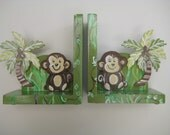 personalized monkey bookends,jungle,gender neutral bookends,personalized gift,personalized book ends,monkeys,monkey decor,kids bookends
