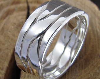 Mens Braided Wide Argentium Sterling Silver Band Ring
