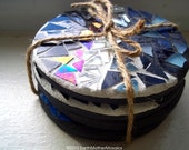 Mosaic Coasters: Stained Glass and Mirror, Black, Silver and Blue - Set of 4