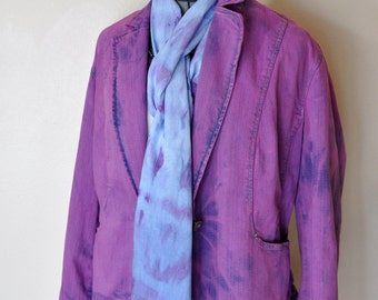 Violet XL Denim JACKET - Fuchsia Pink Purple Dyed Upcycled St. Johns Bay Blazer Jacket - Adult Womens Plus Size Extra Large XL (50 chest)