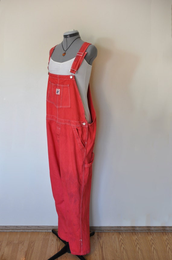 Red Bib Overalls Hand Dyed Red Squeeze Jeans Denim Overall