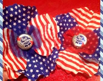 Pabst Blue Ribbon Patriotic Hair Flower Clip