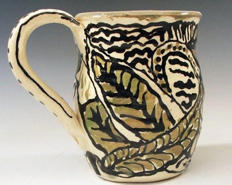 Zentangle Khaki and Buff Leaf Handmade Mug - One of a kind handmade
