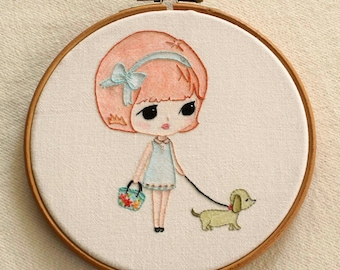 Walking the Dog pdf Embroidery Pattern - Instant Download