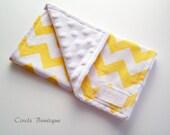 Yellow Chevron Minky Burp Cloth