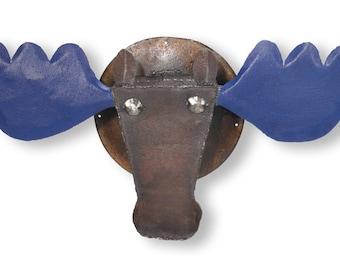 Wall Sculpture Moose Head Metal Wall Art Blue Antlers - Murray