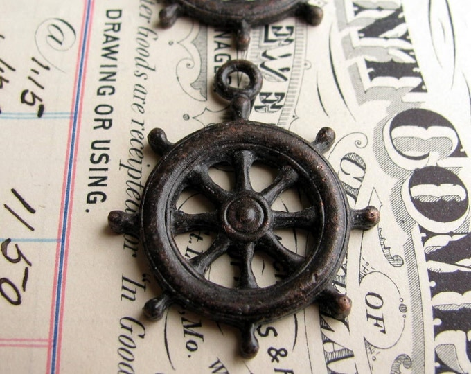 Ship steering wheel pendant from Bad Girl Castings, antiqued black pewter (2 wheels) sea captain, ocean, beach, nautical wedding, boating
