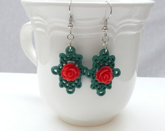 nd-Red Resin Rose on Green Lattice Dangle Earrings