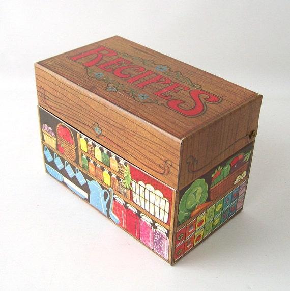 Decorative Recipe Box 2: Vintage Metal Recipe Box Tin Kitchen Mid Century Modern Retro