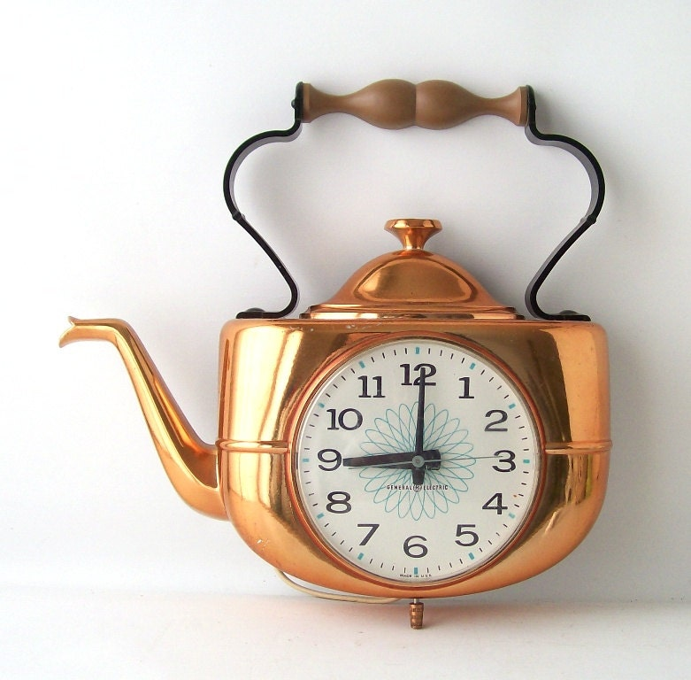 Retro Electric Kitchen Wall Clocks: Vintage GE Wall Clock Kitchen Teapot Copper Electronic