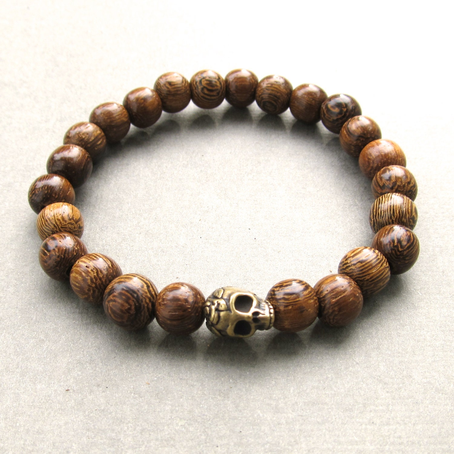 mens brown robles wooden beaded stretch bracelet with by