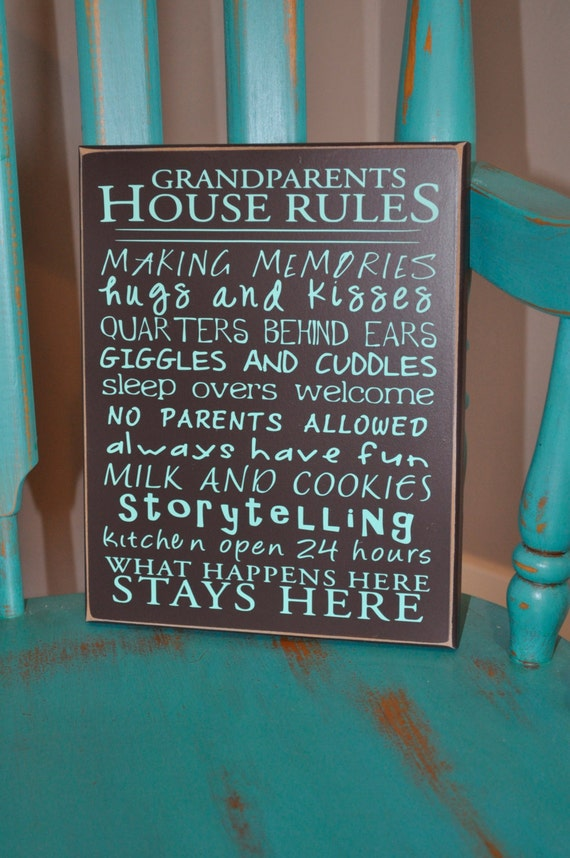 "Grandparent House Rules 8""x10"" sign"