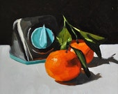 Still life oil painting tangerines - Citrus on a Schedule - 6x6