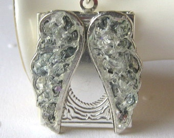 Angel Wing Locket, Raw Diamond Stained Glass, Fairy Wing Necklace, Silver Rectangle Book Locket, Pill Holder, Bespoke Jewelry
