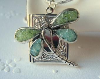 Dragonfly Locket, Book Locket, Silver Square Locket, Locket Jewelry, Stained Glass Locket
