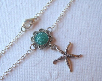 Starfish Ankle Bracelet, Sea Star Anklet, Custom Color Charm, Silver Starfish, Boho Beach Wear, Mermaid Dolphin, Shell Seahorse