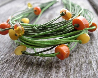Spring Linen Necklace Green Orange Coral Honey Amber Multistrand Fiber Spring Fashion Eco Friendly