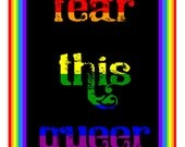 FEAR THIS QUEER  is a hand made gay themed greeting  card