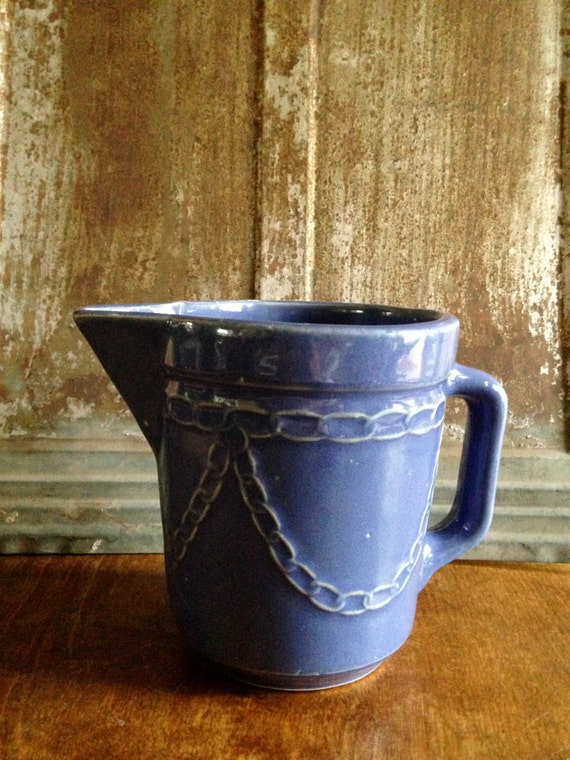 Vintage Monmouth Western Pottery Stoneware Blue Small By