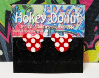 Minnie Mouse Red Polka Dots Stud Earrings