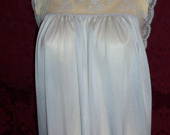 Vintage 60s Pale Blue Nylon and Lace Nightgown