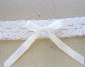 Wedding Toss Garter, White Stretch Lace, White Bow Also Available with Blue Bow