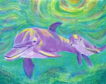 Mom and Baby Dolphin - Art Print  Beach Decor - Limited Edition 10 x 14