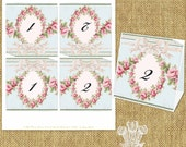 Rose Garland Tattered Tent Style Printable Table Numbers Instant Download Editable PDF DIY Wedding