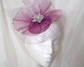 Radiant Orchid Blusher Veil Crinoline Pearl Crystal & Rhinestone Sinamay Wedding Fascinator Mini Hat- Custom Made to Order - IndigoDaisyWeddings