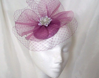 Radiant Orchid Lavender Pink Blusher Veil Crinoline Pearl Crystal & Rhinestone Sinamay Wedding Fascinator Mini Hat- Custom Made to Order