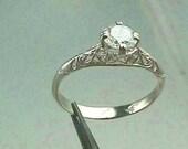 Art Nouveau  Edwardian 14K White Gold Filigree Antique Engagement Ring Setting for 5.5 mm (.63 Carat) Round Brilliant Stone
