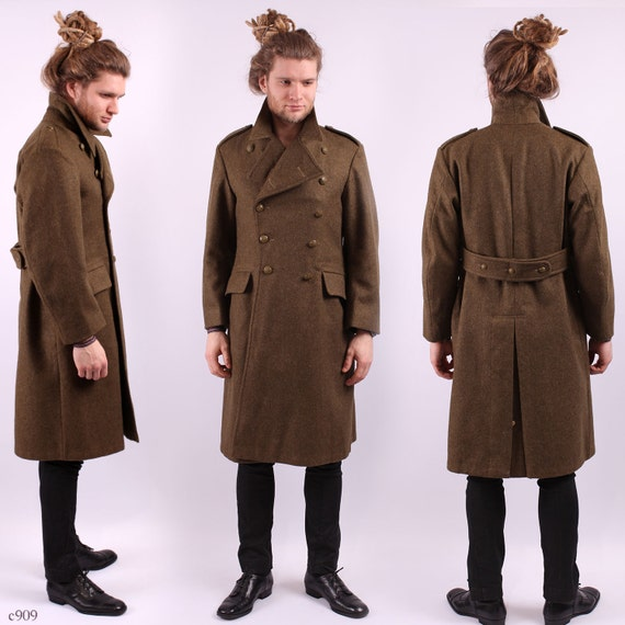 1950s Mens Wool Greatcoat / Steampunk Military Coat / sz Small