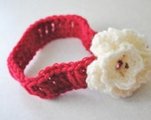 Red and Cream Infant Headband Baby Hair Accessory Newborn Girl Large Flower Take home Shower gift Photo prop Easter Baptism Christening