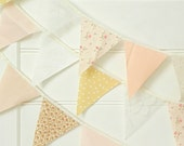 Rose Gold Champagne Lace and Burlap Fabric Bunting Pennant Garland Decoration 9 Feet / Romantic Rustic and Handmade Wedding - AFeteBeckons