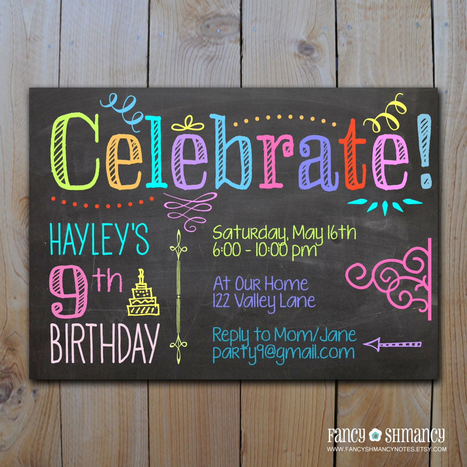 chalkboard invitation tween birthday neon by fancyshmancynotes