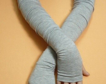 Extra long Grey Armwarmers with Thumb Holes, Jersey Fingerless Gloves in Boho Style, Tribal, Wicca, Dance, Tattoo Covers