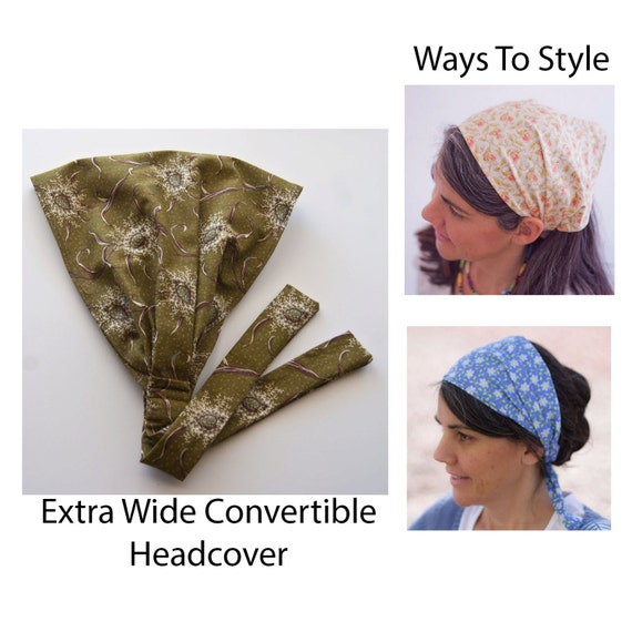 Green and Brown Floral Extra Wide  Headband  Headcovering
