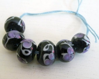 Handmade Lampwork Glass Beads Petite Purple Flowers