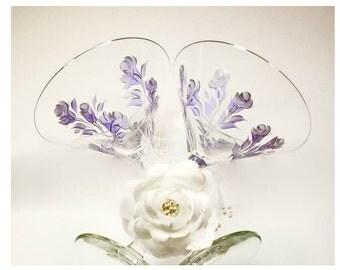 Hand-Painted Martini Glasses - Elegant Lavender Purple and Silver Roses, Set of 6 - Margarita Glasses 25th Wedding Anniversary