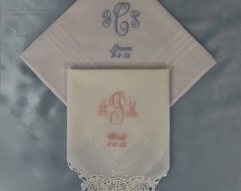 Wedding Handkerchiefs Personalized-His and Hers-Bride and Groom-White-custom Monogrammed
