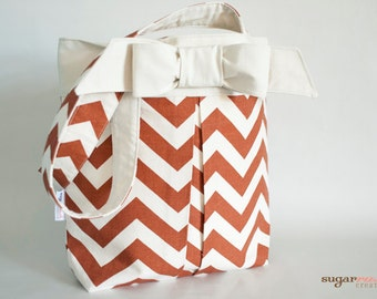 Rust Chevron Pleated Bow Tote Bag