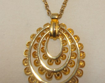 Gold Tone Hoop Necklace,  Vintage 1970's 1980's