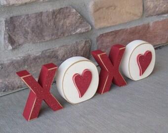 XOXO BLOCKS for valentines, shelf, desk, mantle and home decor