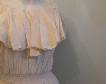 vintage. 70s Cream Gauze Cotton Dress // M L
