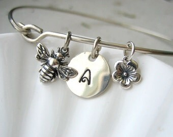 Silver Initial, Flower & Bumble Bee Bangle Bracelet - Hand Stamped Charm - Sterling Silver Bangle - Custom Personalized