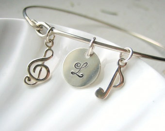 Music Note & Initial Bangle Bracelet - Hand Stamped Charm - Sterling Silver Bangle - Custom Personalized